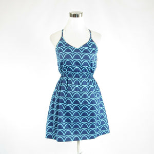 Dark blue geometric cotton blend ELLEN and OLLIE spaghetti strap sun dress 4