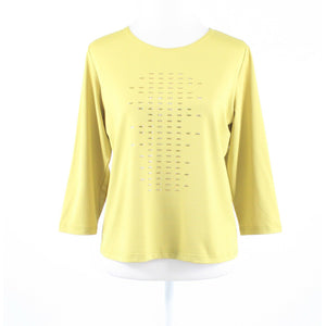 Charteuse green stretch RAFAEL gold stud trim 3/4 sleeve knit blouse L