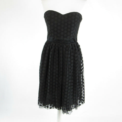 Black polka dot lace WHITE HOUSE BLACK MARKET strapless corset dress 4