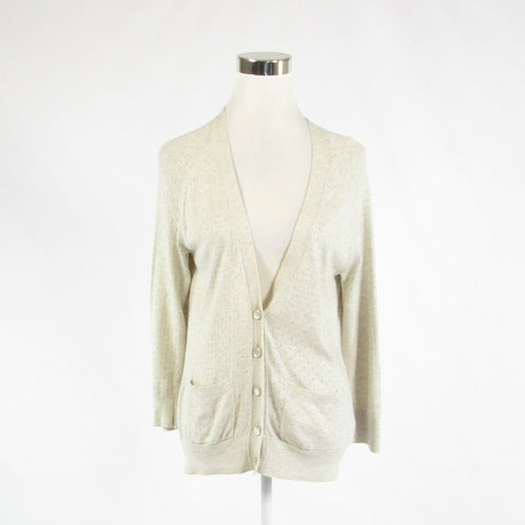 Light beige pique cotton blend BANANA REPUBLIC 3/4 sleeve cardigan sweater M-Newish