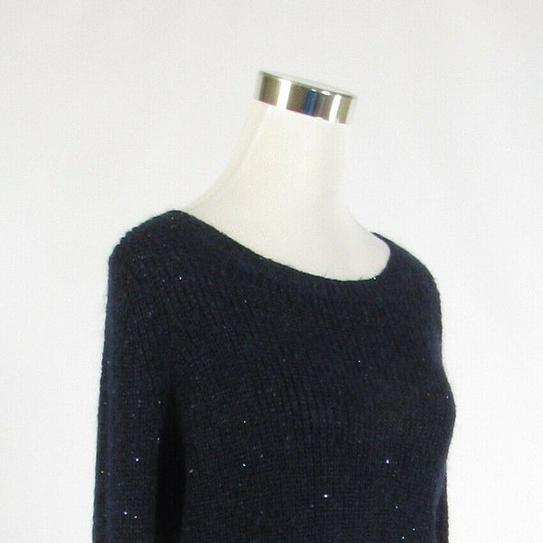 Navy blue ANN TAYLOR shimmery long sleeve scoop neck sweater M-Newish
