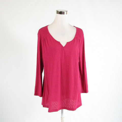 Dark pink cotton blend EDDIE BAUER stretch 3/4 sleeve blouse XL-Newish