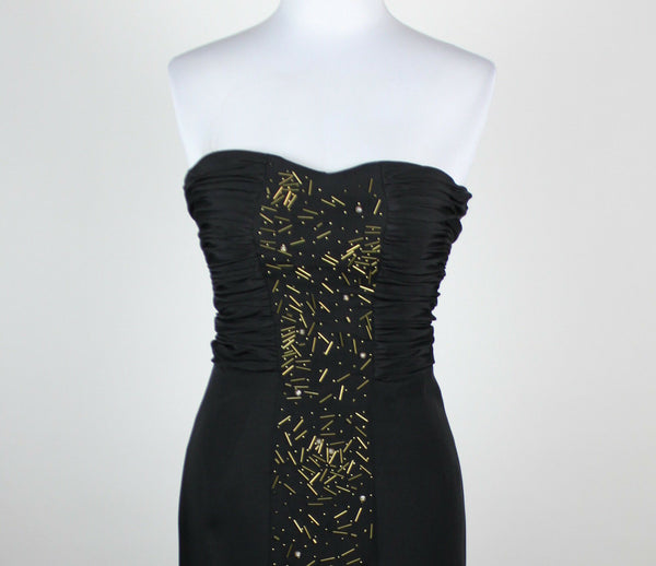 ABAETE black silk blend strapless ruched bodice beaded front panel dress 4-Newish