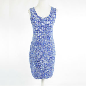 Dark blue white geometric PER SE stretch sleeveless bodycon dress S