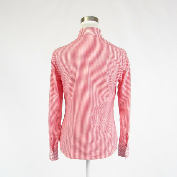 Pink white gingham 100% cotton CHARLES TYRWHITT long sleeve button down blouse 2-Newish