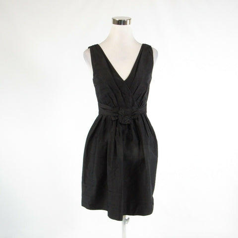 Black 100% silk WHITE HOUSE BLACK MARKET sleeveless A-line dress 2-Newish