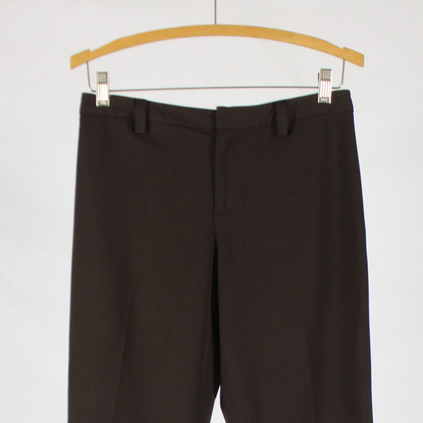 Dark brown NINE WEST flat front cropped side slit stretch pants 4-Newish