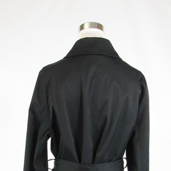 Black cotton blend DKNY belted waist long sleeve trench coat L-Newish
