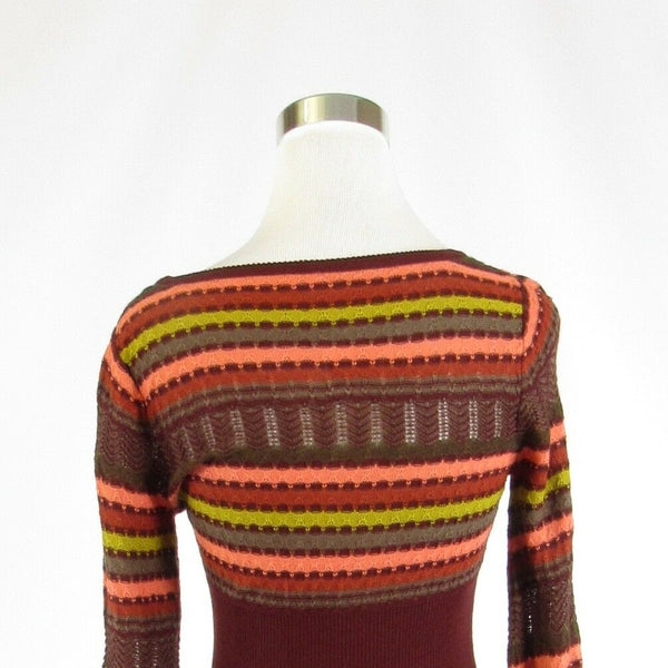 Maroon red pink uneven striped FREE PEOPLE long sleeve scoop neck sweater S-Newish