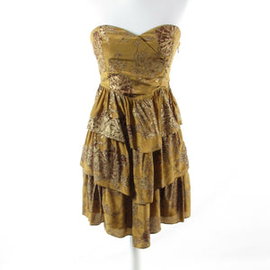 Metallic gold yellow floral print ANTHROPOLOGIE MOULINETTE SOEURS tiered dress 4