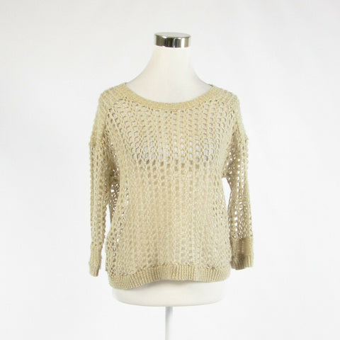 Light beige gold cotton blend DKNY JEANS 3/4 sleeve crewneck sweater L-Newish