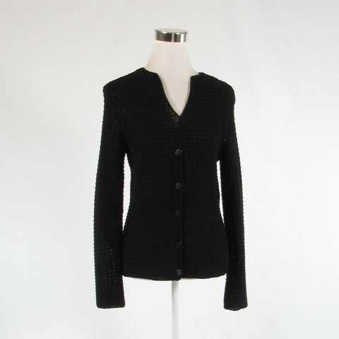 Black TALBOTS long sleeve cardigan sweater crochet knit S