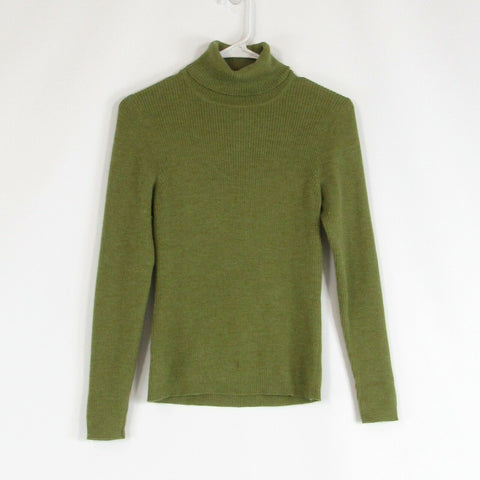 Olive green ANN TAYLOR long sleeve turtleneck ribbed sweater S
