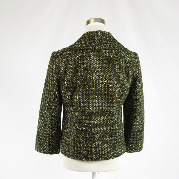 Dark green plaid tweed CHAUS double breasted 3/4 sleeve jacket 8-Newish