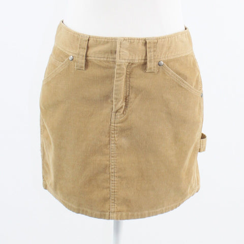 Khaki cotton corduroy J. CREW cargo style mini skirt 2