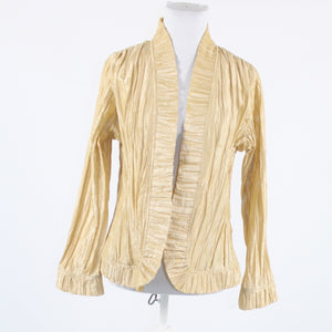 Beige wrinkled texture CHICO'S long sleeve single clip jacket M