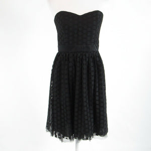 Black polka dot WHITE HOUSE BLACK MARKET sheer overlay strapless A-line dress 2