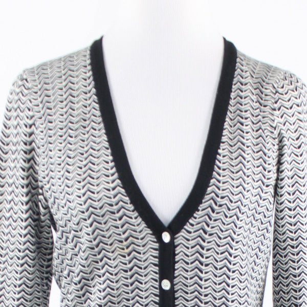 Black gray chevron cotton blend J. MCLAUGHLIN long sleeve cardigan sweater S-Newish