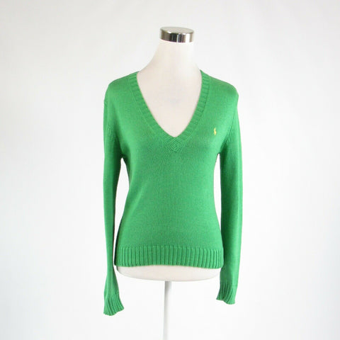 Green 100% cotton RALPH LAUREN SPORT long sleeve V-neck sweater M