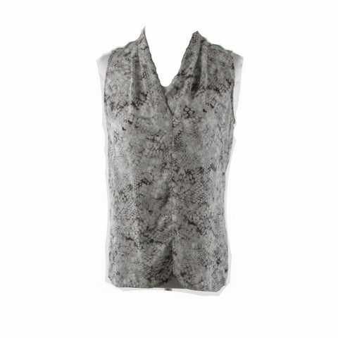 Gray snake CYNTHIA ROWLEY sleeveless blouse S