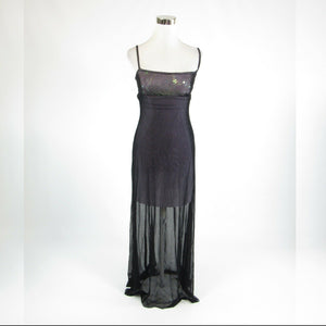 Black purple CACHE stretch sheer overlay shimmery spaghetti strap maxi dress M