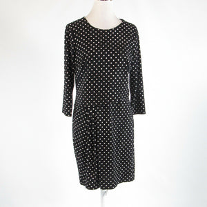 Black white polka dot ANN TAYLOR stretch 3/4 sleeve A-line dress PM