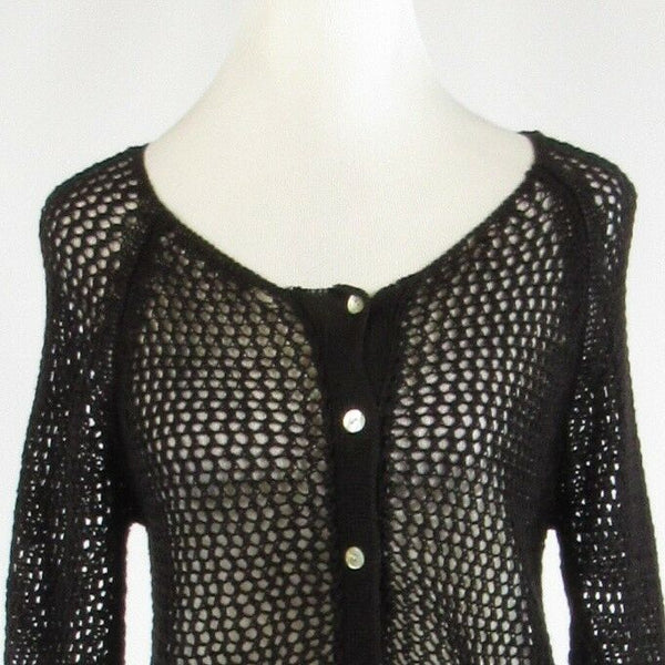 Black cotton blend SOFT SURROUNDINGS 3/4 sleeve cardigan sweater open knit S
