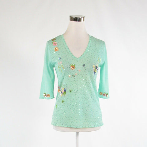 Mint green yellow ONE GIRL WHO sequin trim 1/2 sleeve V-neck sweater M