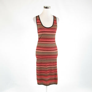 Coral orange pink uneven striped MISSONI stretch sleeveless bodycon dress 4-Newish
