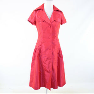 Light red RICKIE FREEMAN Teri Jon short sleeve A-line dress 2