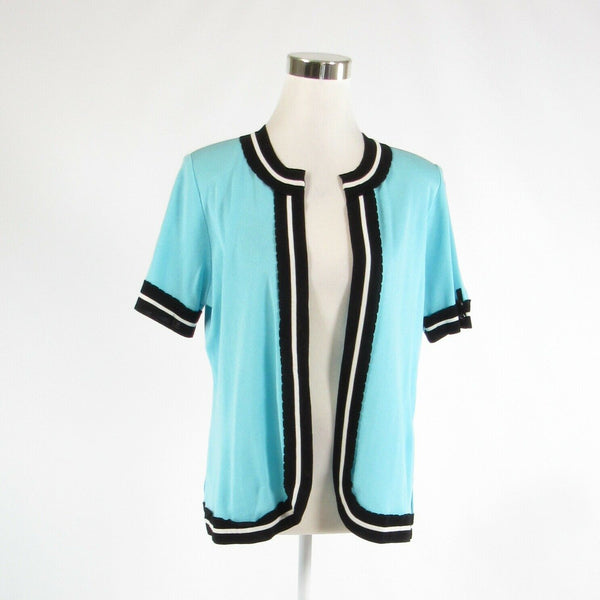 Turquoise blue black MISOOK short sleeve shrug sweater S-Newish