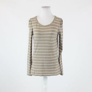 Beige white striped stretch cotton blend GAP long sleeve scoop neck blouse M