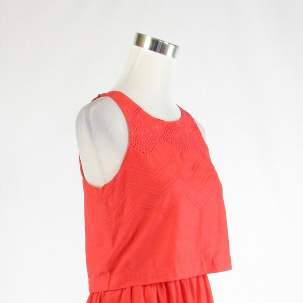 Coral orange 100% cotton GAP embroidered trim stretch sleeveless A-line dress 0