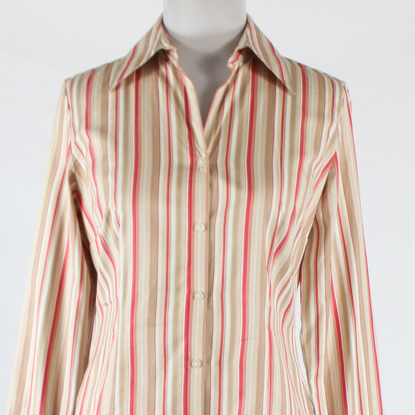 White beige red striped cotton ANN TAYLOR LOFT long sleeve button down shirt 2-Newish