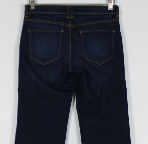 NEW YORK & COMPANY dark wash stretch denim low rise cropped wide leg jeans 4-Newish