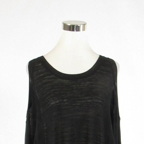 Black linen blend MNGORPT OLEXY short batwing sleeve scoop neck sweater XS-Newish