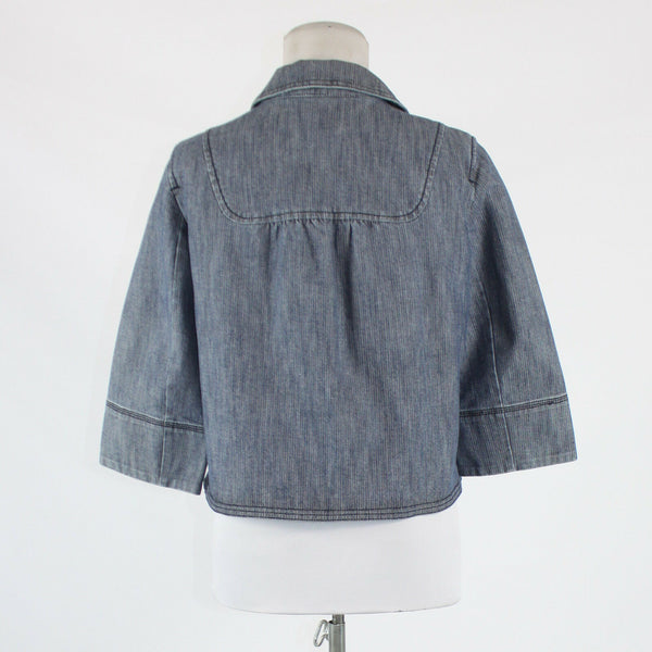 Blue cotton blend denim ANN TAYLOR LOFT 3/4 sleeve stretch buttondown jacket 4P