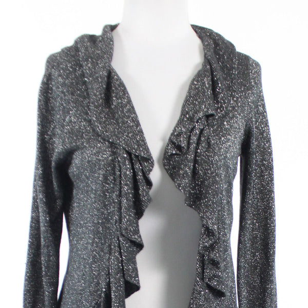 Charcoal gray silver rayon INTERNATIONAL CONCEPTS long sleeve swing sweater M-Newish