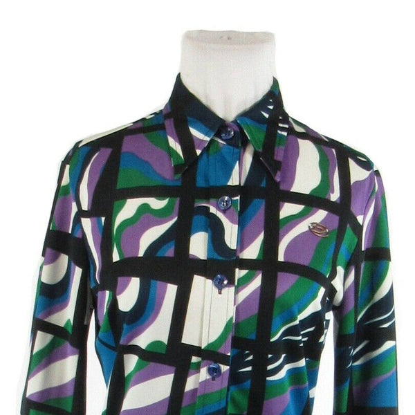 Green black geometric DIESEL long sleeve vintage button down blouse M-Newish