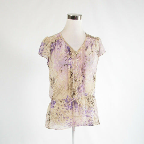Light beige purple abstract sheer 100% silk BANANA REPUBLIC cap sleeve blouse S-Newish