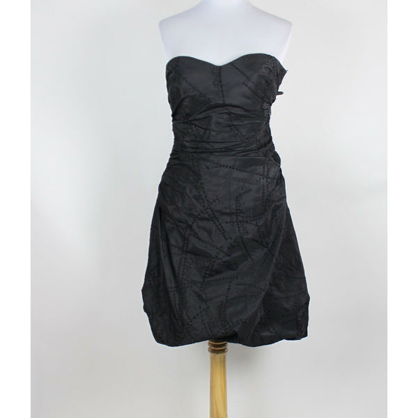 KAY UNGER NEW YORK black geometric embroidered silk strapless bubble dress 4-Newish