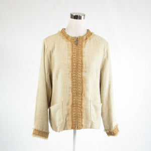 Light beige textured silk blend ANNE CARSON long sleeve blazer jacket 1X