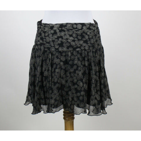 EXPRESS black & white geometric 100% silk above knee peasant boho skirt 0-Newish