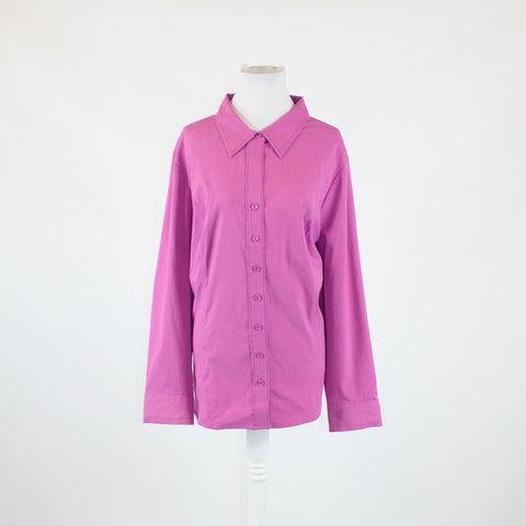 Purple stretch LANE BRYANT long sleeve button down blouse 26 NWT $39.50