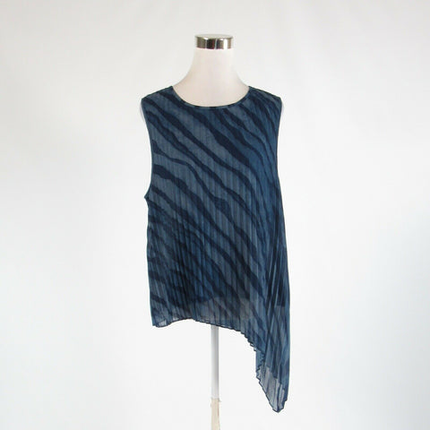 Dark blue zebra HALSTON semi-sheer sleeveless tunic blouse XL