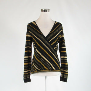 Black gold diagonal striped DONCASTER shimmery stretch long sleeve knit blouse M