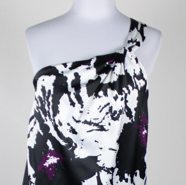 THE LIMITED black white & purple geometric one shoulder stretch blouse S-Newish