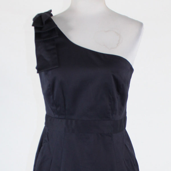 Navy blue cotton FRENCH CONNECTION one shoulder above knee dress 8 NWT $168