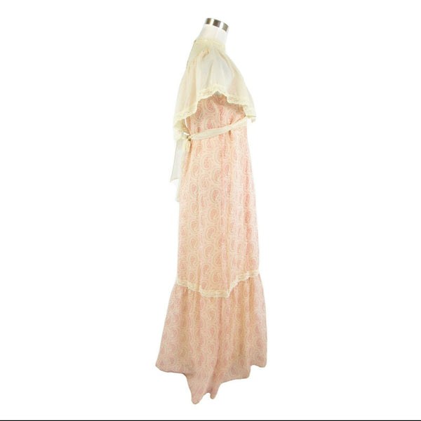 Light beige pink paisley TRIVIA BY CHARM OF HOLLYWOOD vintage maxi dress 7 S-Newish