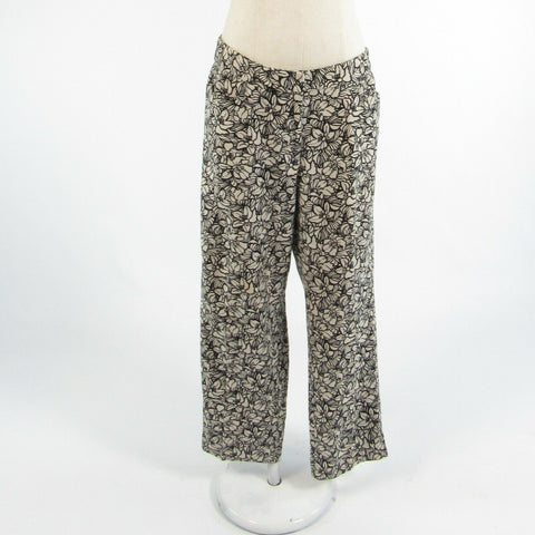 Light beige black floral print linen blend TALBOTS relaxed fit pants 6